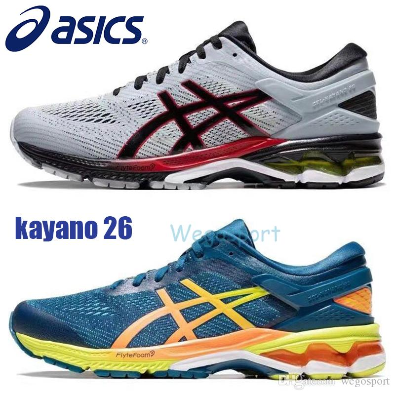 new style & luxury complimentary shipping shop for 2019 Designer Asics Gel Kayano 26 Men Running Shoes Top Quality Dark Grey  Blue Training Shoes Sport Cushion Sneakers Size 40.5 45 From Wegosport, ...