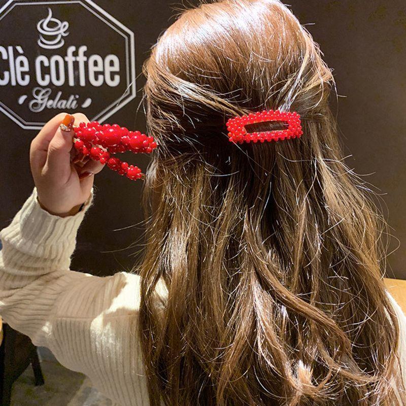 Clipe 1Pc Hair Fashion Red Pearl For Women elegante coreano Design Pressão Barrette vara Hairpin Hair Styling Acessórios qycDC