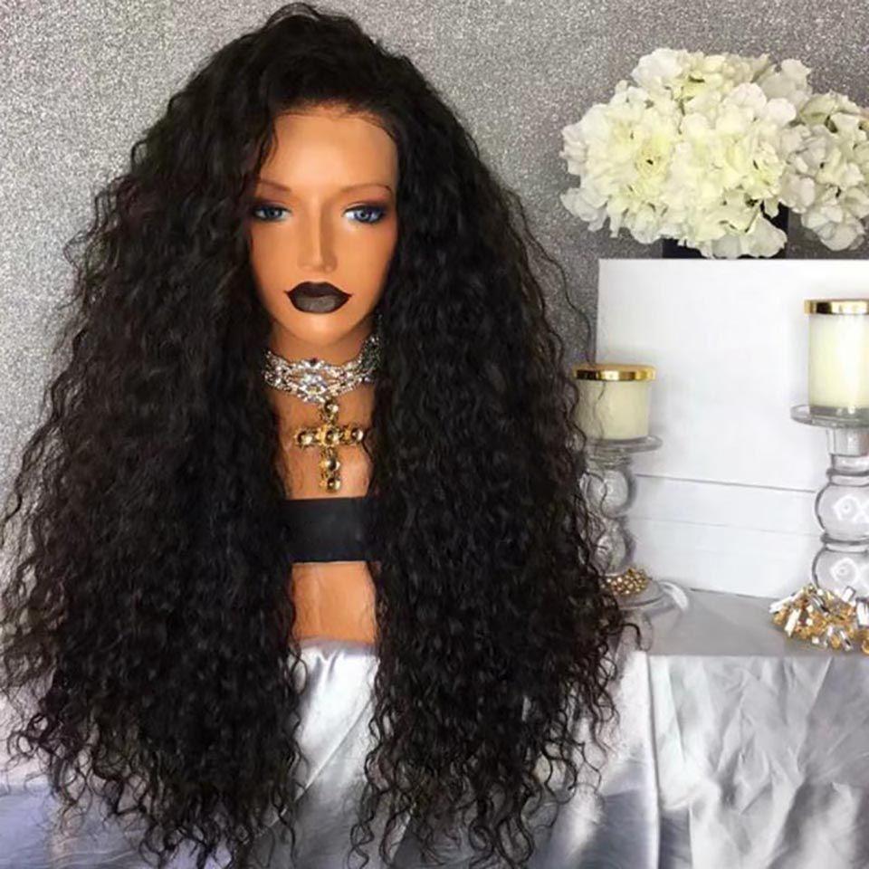 moda parrucche sintetiche parrucche femminili di seta nera soffice selvaggia parrucca afro crespi capelli ricci parrucca carry umani caldo all'ingrosso di 28 pollici