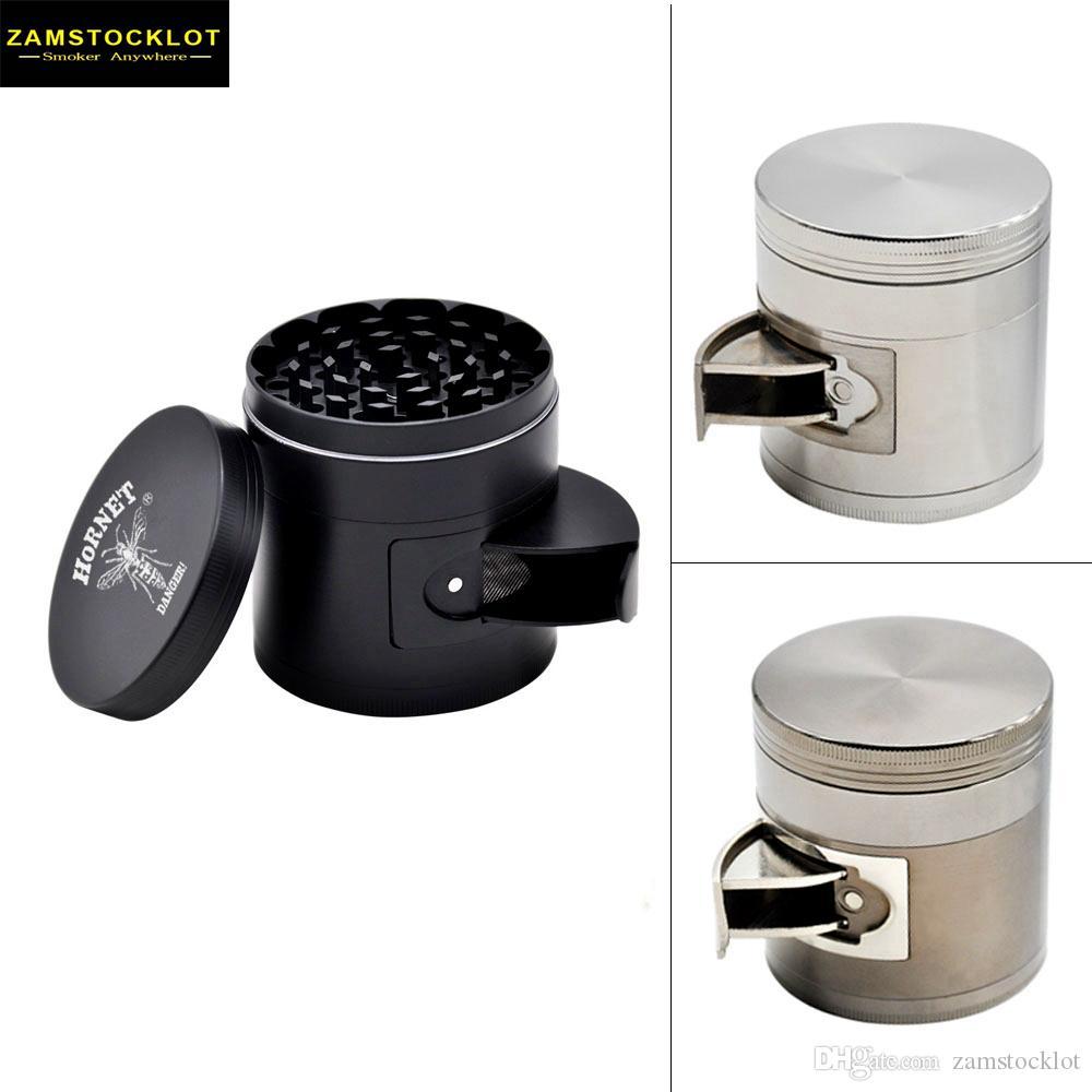 Multifonctions en alliage de zinc grille de tabac grinder moulin à tabac 4 pièce 63mm dents aiguës épices de broyeur de chrome Concasseur PLACHER PIGES