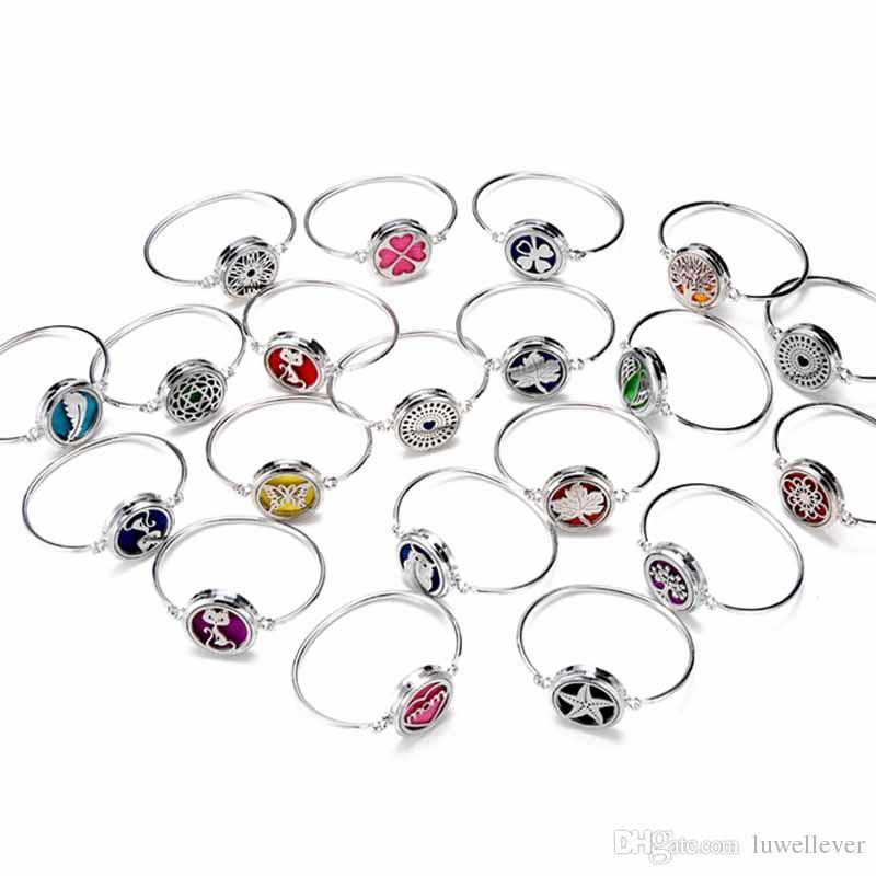 Vendita mista nuovo metallo moda 316 30mm profumo essenziale oli diffusore medaglione braccialetto braccialetto con pastiglie donne adolescenti regalo