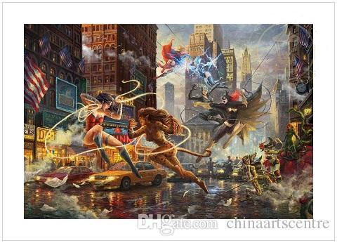 Thomas Kinkade Studios The Women of DC Handpainted Graffiti Art Oil Painting Commemorative LE Wonder Woman On Canvas Wall Art Deco