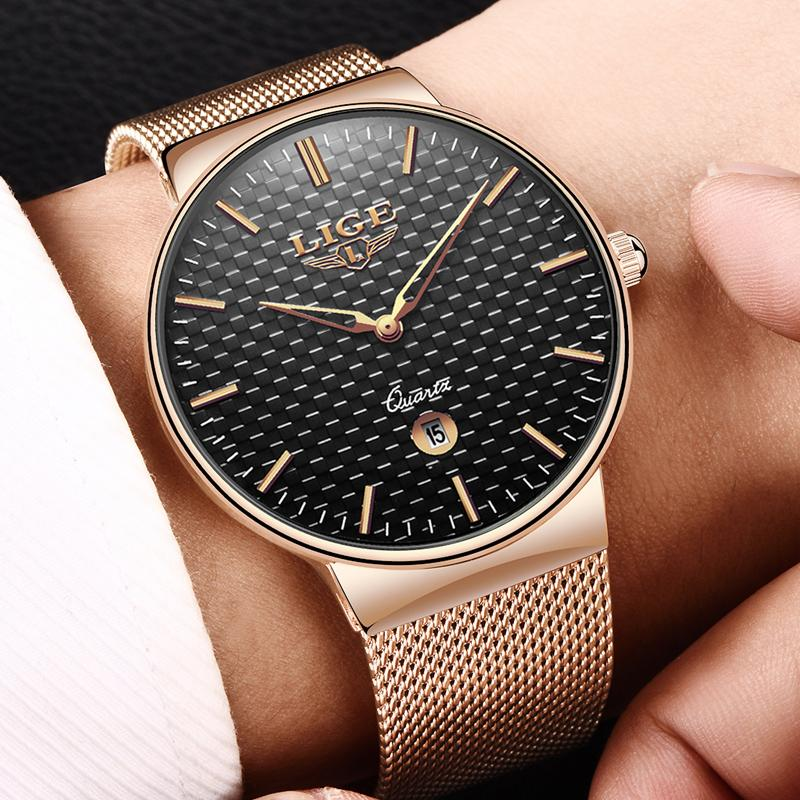 Lige Fashion Mens Watches Top Brand Luxury Ultra Thin Quartz Watch Men Steel Mesh Strap Sport Waterproof Clock Relogio Masculino C19021601