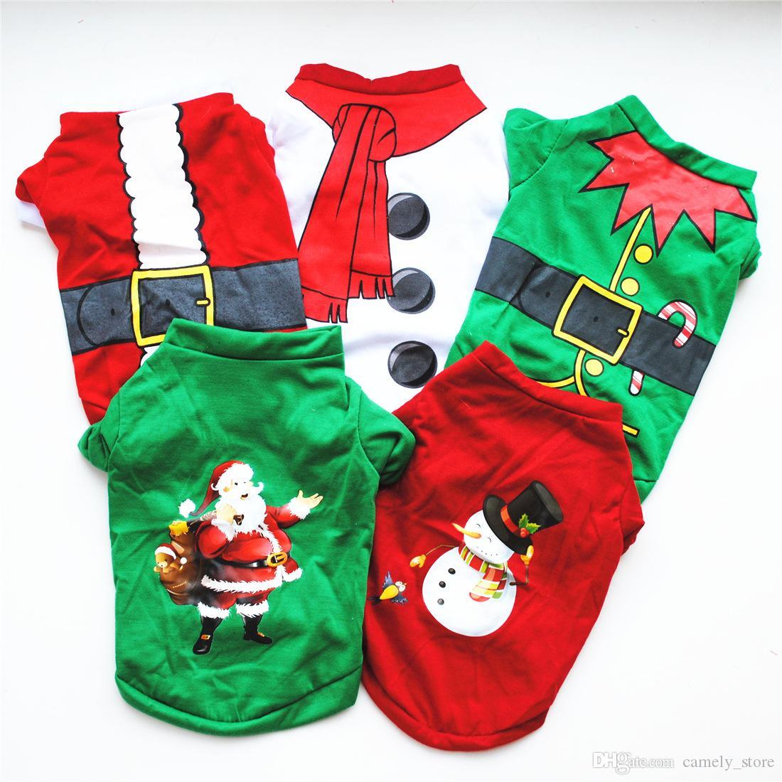 Nette Hundekleidung Weihnachts Kostüme Klassische Baumwoll-T-Shirts Teddybären Spitz-Welpen-Weihnachtskleidung 5 Farben