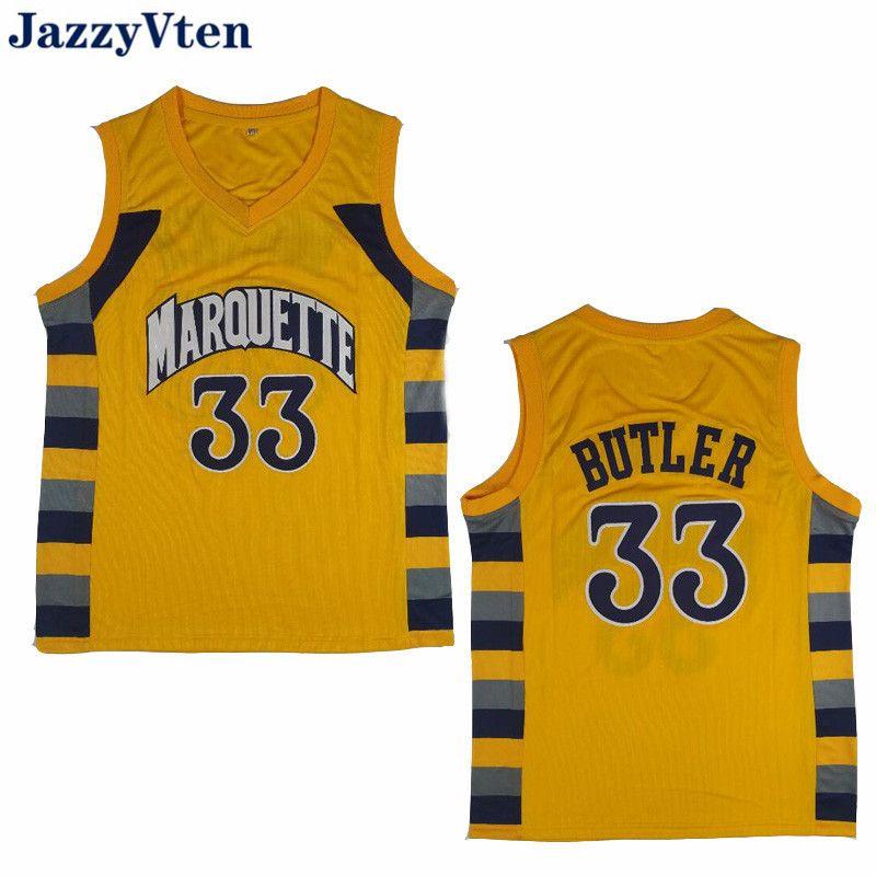 새로운 남자 # 33 지미 버틀러 마켓 골든 이글스 대학 노란색 레트로 클래식 농구 저지 남성 스티치 셔츠 무료 배송