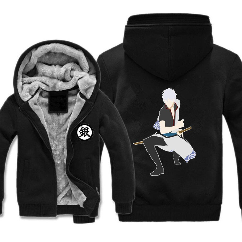 Anime de Japón Gintama hombres de la chaqueta sin mangas de las mujeres capa con capucha Sudaderas con capucha Espesar cosplay traje chaqueta de cremallera