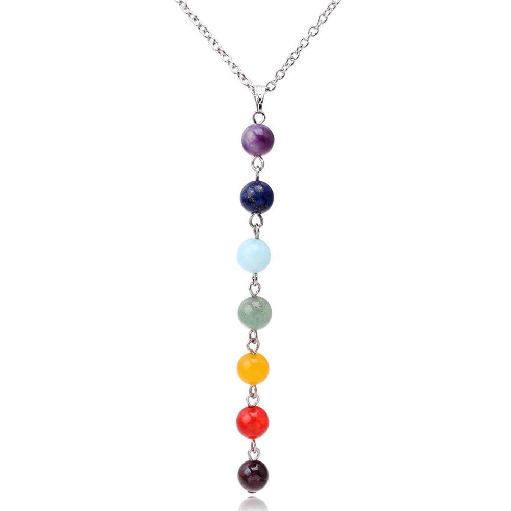 7 Chakra Edelstein-Stein-Korn-Anhänger-Halskette Frauen Reiki Balancing Chakra Ketten Mode