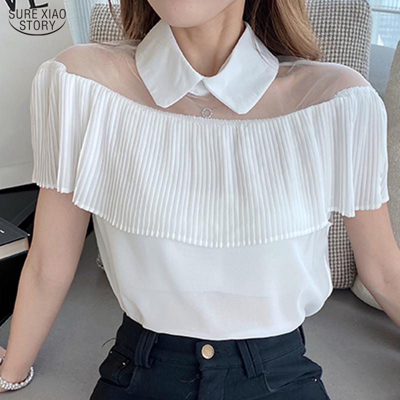 Corea malla empalmado camisa Mujeres Negro suéter blanco sólido Tops 2020 ocasional del verano de manga corta blusa de la gasa de las mujeres 10027