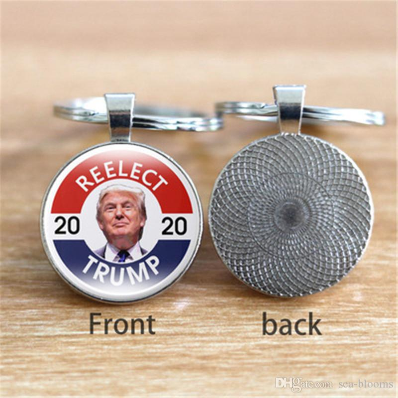 6 Styles Donald Trump President 2020 Keychain Souvenir Trump 2020 USA Flag Keep America Great Printed Glass Car Key Ring Keyfobs M213Y