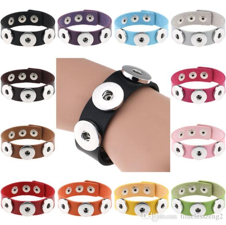 High Quality NOOSA Snap Button Bracelet DIY Charms Bracelet PU Leather Bracelet Snap Jewelry Interchangeable Button For Women Men