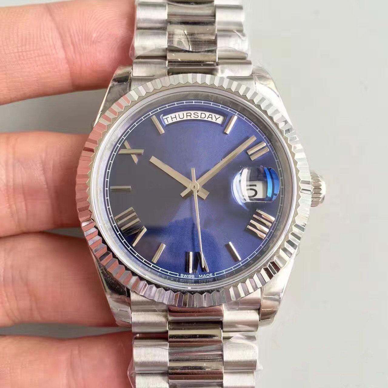 vente montre chaude JOUR DATE 41MM Dila visage bleu montres hommes mécaniques Lunette en acier inoxydable pliant Montres-bracelets de qualité des hommes sangle boucle