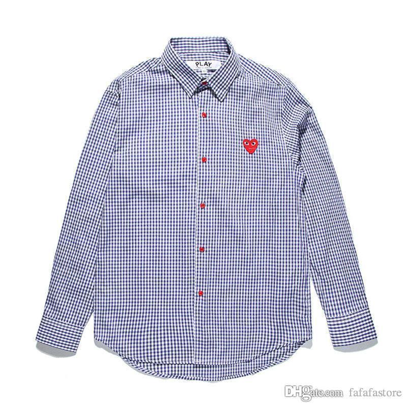 Melhor Qualidade Coração Emoji JOGO C333 Azul Royal Das Mulheres Dos Homens Camisa Longa Blusa Com T-shirt De Manga Comprida Des Garcons treliça