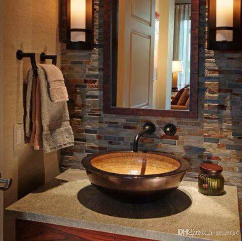 Round Drop-In-Becken mit Überlauf Bad Waschbecken Kupfer Waschbecken Badezimmer Terrasse, Kunst Terrasse, WC, Waschbecken, Doppeldecker overflowin