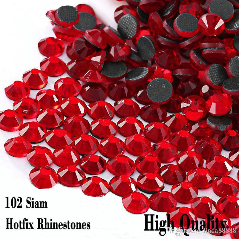 Small Bag Shiny Glass Rhinetones Flatback High Quality SS6 SS10 SS16 SS20 SS30 Looser /Red Siam Hot Fix Strass