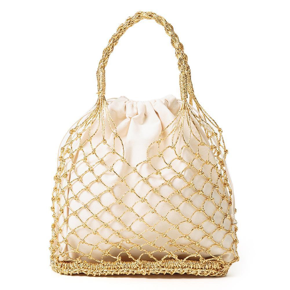 Cannetille Manual Crocheting Woven Handmade Bags Cutout Mesh Pouch Lined Straw Braided Beach Tote Bag For Women J190712