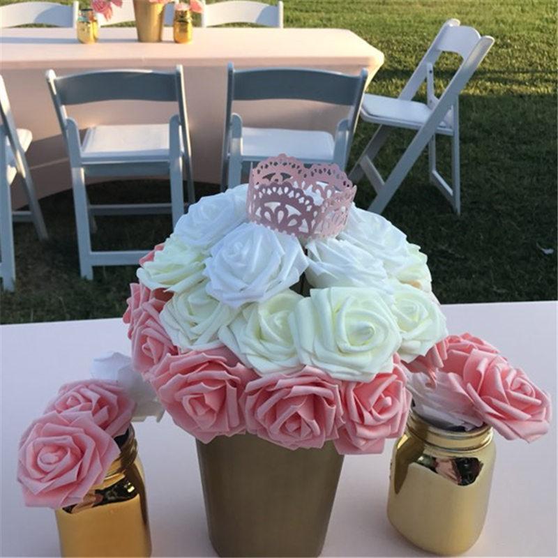 8cm Foam Rose Flower Artificial Flowers For Wedding DIY Bride Bouquet Decoration Home Decorative Wreath Crafts