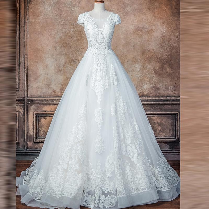 2019 бальное платье V назад свадебные платья Cap рукавом с кружевной аппликацией Cstom сделал