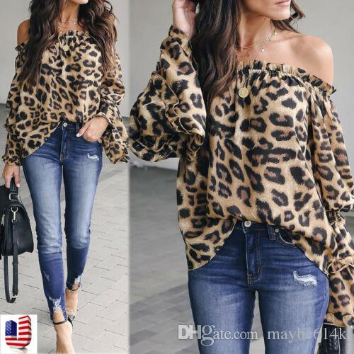 Hot 2019Fashion Mulheres Alças shirt Leopard Impresso Long Sleeve Tops Blusa
