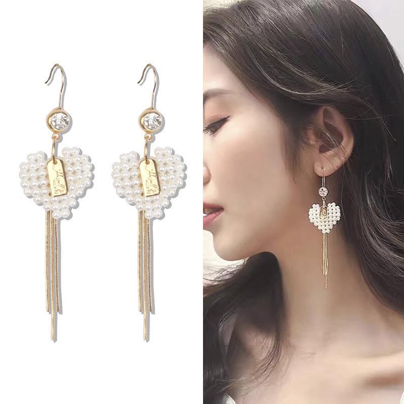 Bracelets Pearl Heart Earrings Womens Long Temperament Super Fairy Tassel Drop Earrings Girl Heart Ins Stud Earrings Net Red