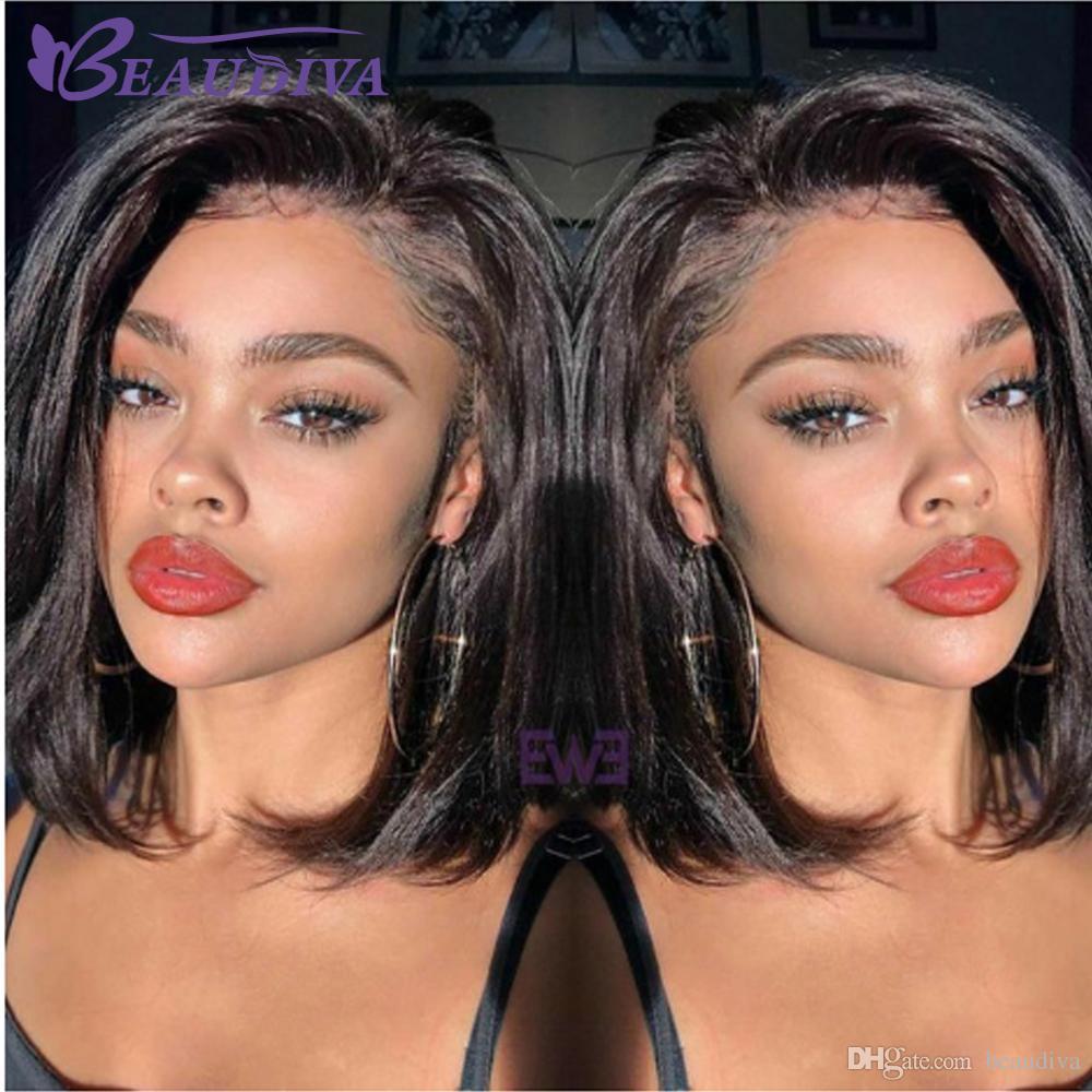 قصيرة الرباط الجبهة شعر الإنسان الباروكات اللون الطبيعي الإنسان الشعر الكامل الدنتلة الباروكة البرازيلي الشعر بوب لمة للنساء السود