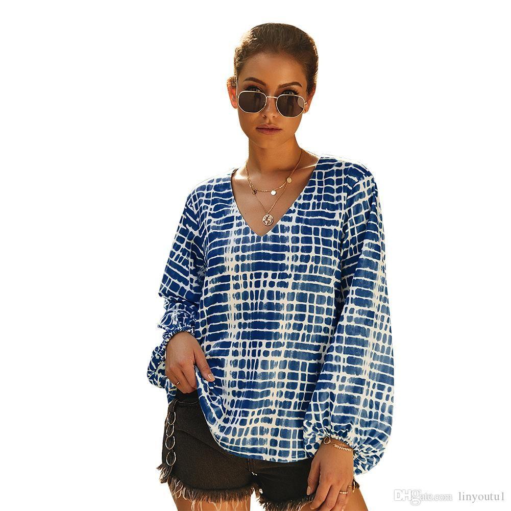 Blusa ocasional de Boho floral manga larga impresa mujeres sueltan tapas de las señoras del Hippie gitana túnica de la blusa camisa