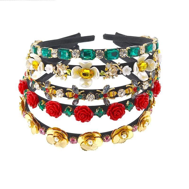 Nuovi monili di perla e strass sposa fascia dei capelli della Rosa Ape floreale Jeweled fascia capa sottile fascia gemma Diamante Hairband
