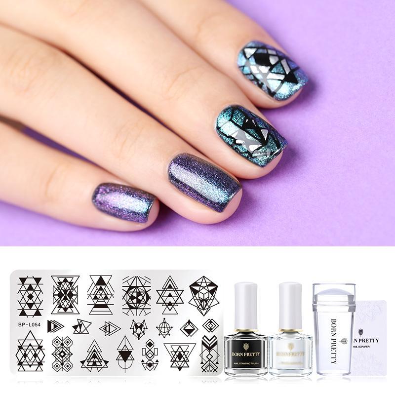 Vente en gros 5Pcs Nail Art Stamping Set Stamping Polonais Stamping Modèle Nail Art Stamper Nail Grattoir Manucure Conception Kits