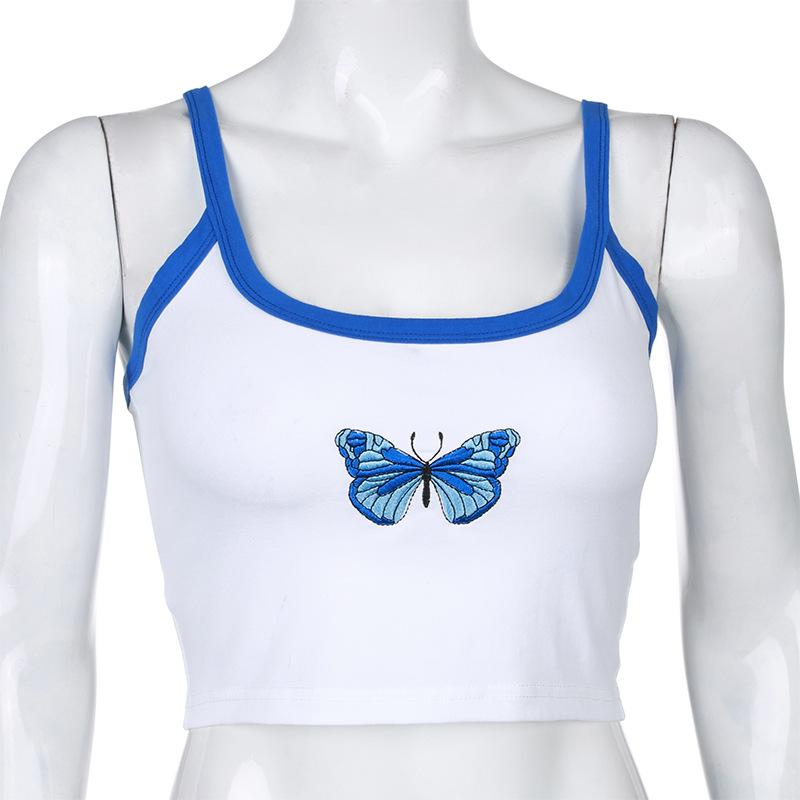 Tank Top Women Summer Casual Tops 2020 Sleeveless Off Shoulder Tanktop Fashion Butterfly Print White Sexy Tanks Crop Top Stylish