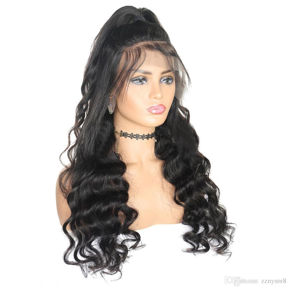 Mongol cabelo Ocean Wave peruca com bebê Pré cabelo arrancado Virgin Cabelo Humano completa peruca dianteira do laço da Mulher Negra ujibg