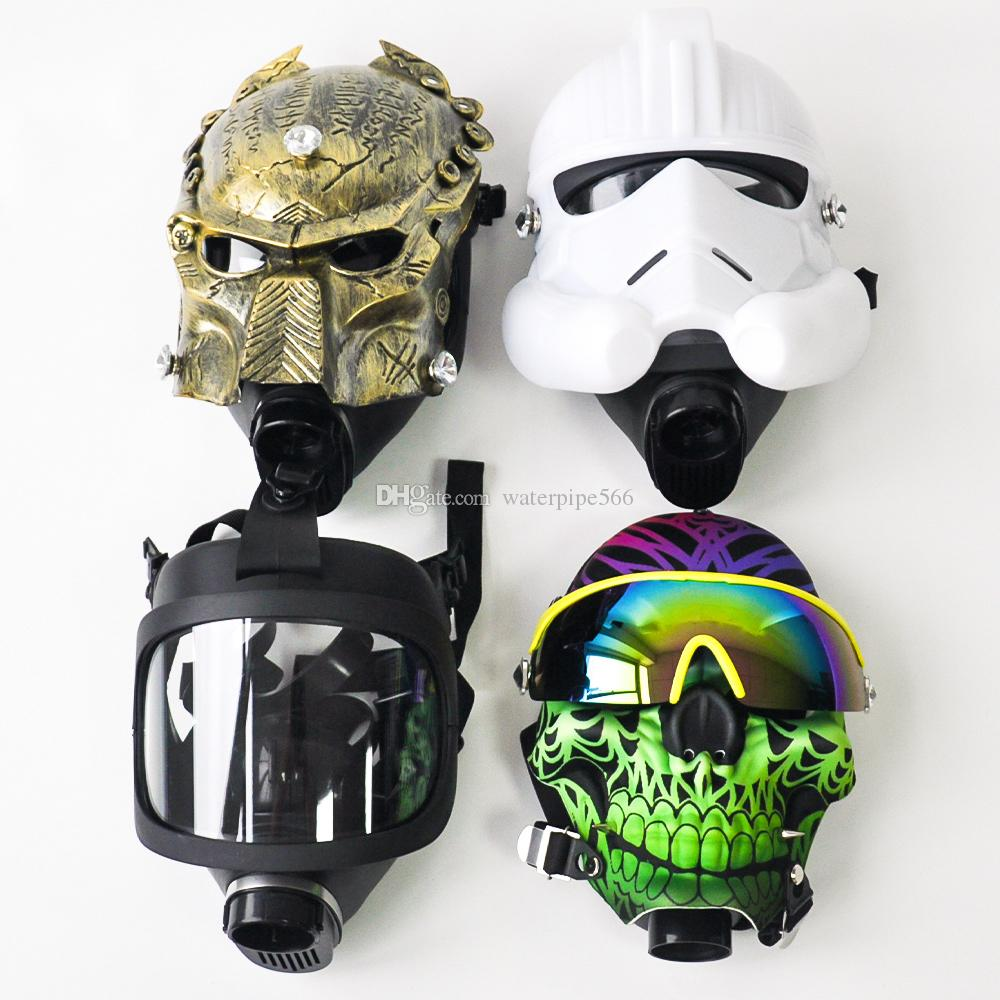 Silikon Gas Predator Maske mit Acryl Tabakspfeifen Wasserrohr Bongs Bohrinsel Rauchen Wasserpfeifen Shisha Tabak Bubbler Tubes