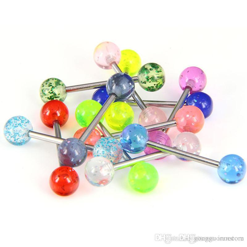 100 stücke Glitter Zunge Nippel Bars Barbell Ring 316L Chirurgenstahl Piercing Körperschmuck Viele Mix Bauchnabel Ringe Großhandel