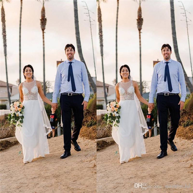 2020 Jewel Chiffon Aline vestidos de casamento Bohemian Praia Hippie estilo vestidos de noiva com Custom Made Plus Size