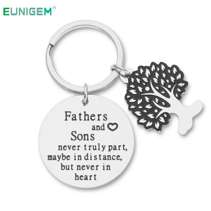 Fathers Day Gifts Keychain for Daddy Papa Fathers and Son -Never Truly Part Dad Son Birthday Gifts for Men Dad Grandfather