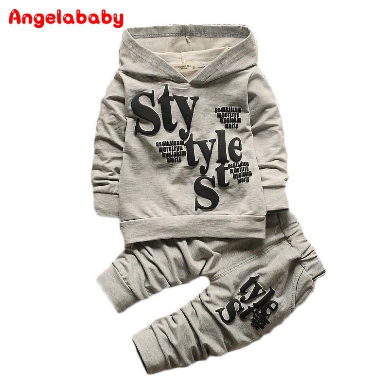 Baby Boy Kid Autunno Inverno 2017 Abbigliamento per bambini 2 pezzi Set cappotto con cappuccio + pantaloni Lettera Suit Autunno Cotone Sport Tuta Outdoor Y190518
