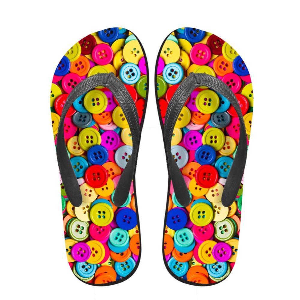 Noisydesigns Kadınlar Flip 3D Fastener Zinciri Cap Baskılı Yaz Platform aylaklarının Kadın sandalet Ayak Terlik Kaymaz Ayakkabı flop