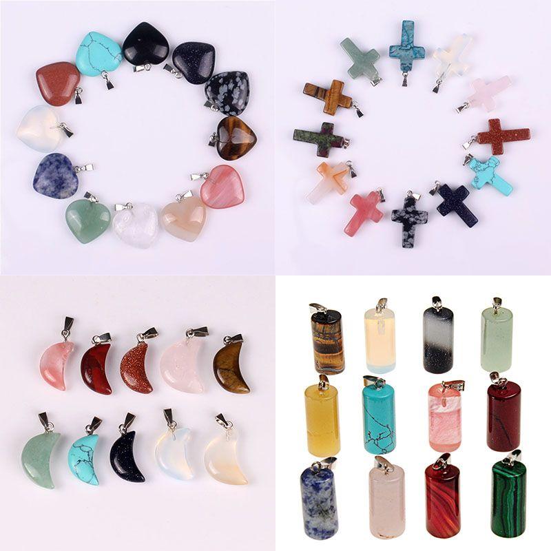 Мода ювелирные изделия Природный камень Агат Moon Light Cross Любовь Pentagram Snail Shell Apple, Triangle Water Drop Hexagram Подвеска Ожерелье