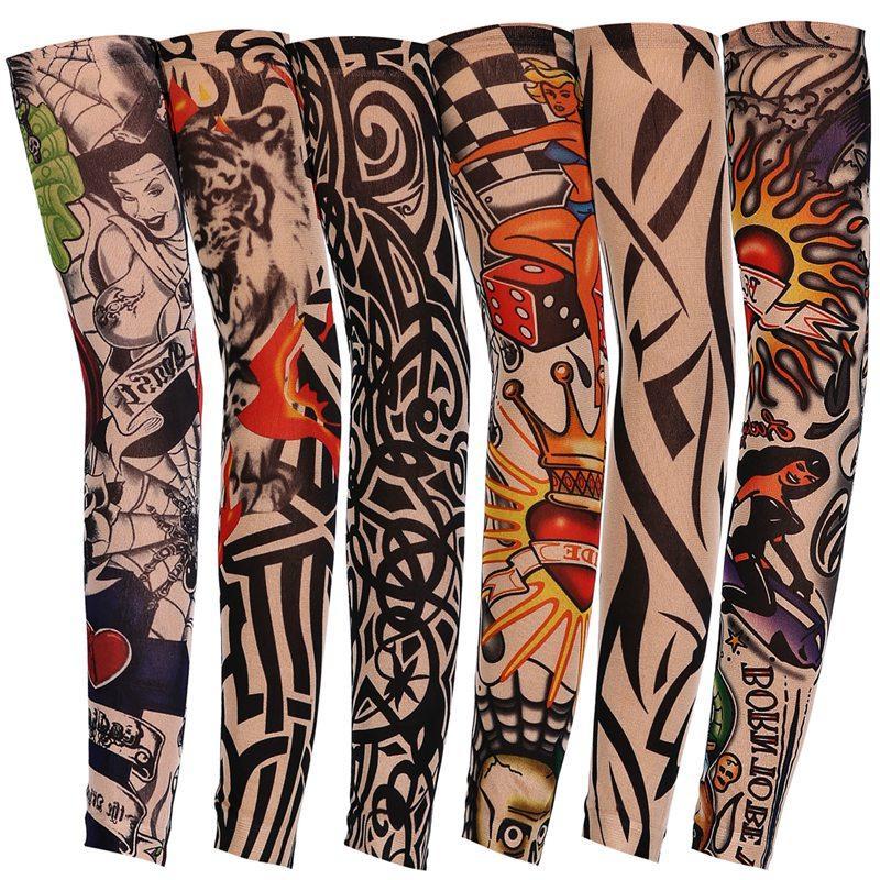 Manicotto del tatuaggio temporaneo elastico in nylon guida all'aperto braccio di guida manica anti-UV protezione solare traspirante stilista braccio calze HHA760