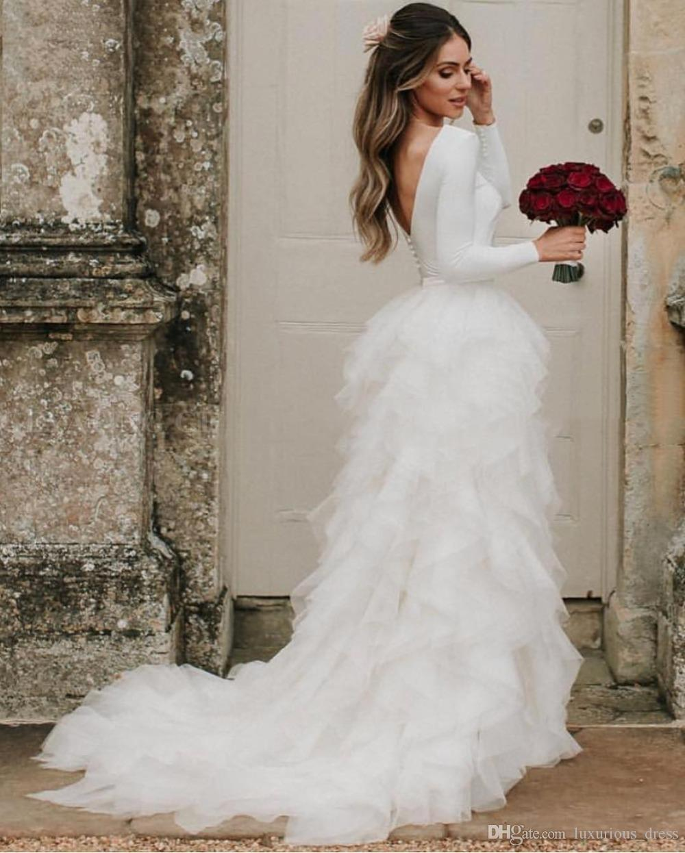 Rustic White Long Sleeve Country Wedding Dress 2019 Vintage Backless Ruffle Tiered Tulle Boho Beach Wedding Dresses Bridal Gowns