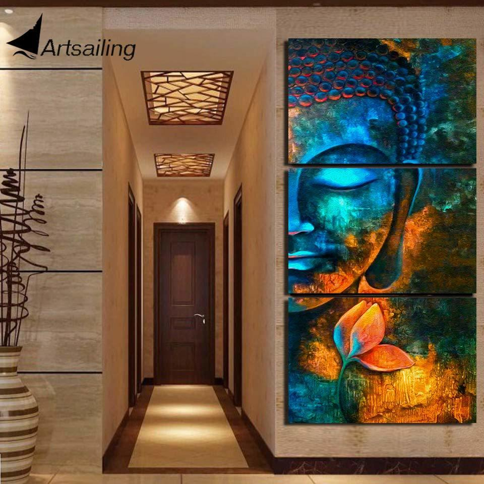 HD printed 3 piece canvas art Abstract Buddha painting Modern home decor Wall Art Picture For Living Room canvas print NY-7609C Y200102