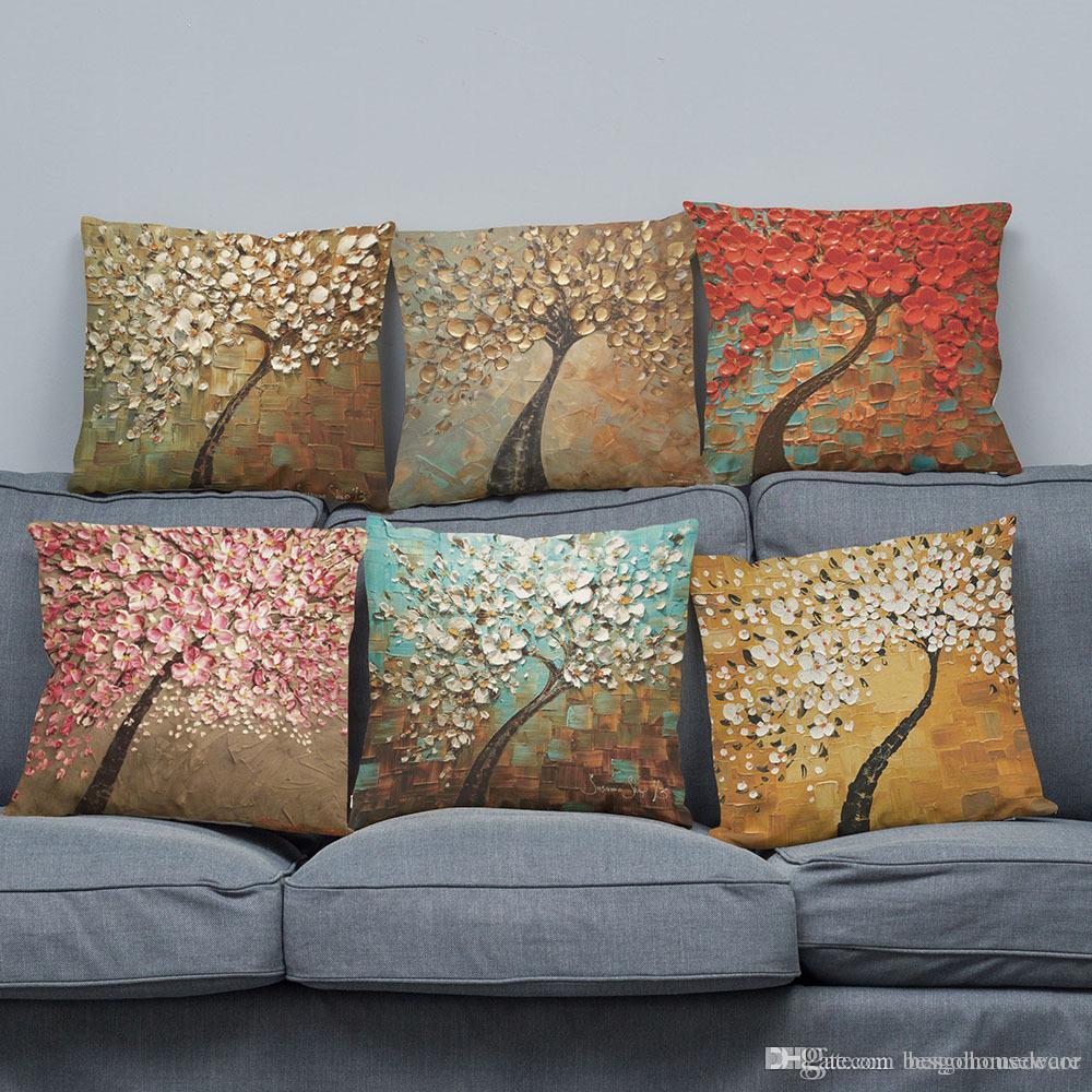 Impression arbre fleur-verso seul cas Canapé coussin décoratif Accueil coussin 45x45cm personnalisable Linge Taie d'oreiller BH0567 TQQ