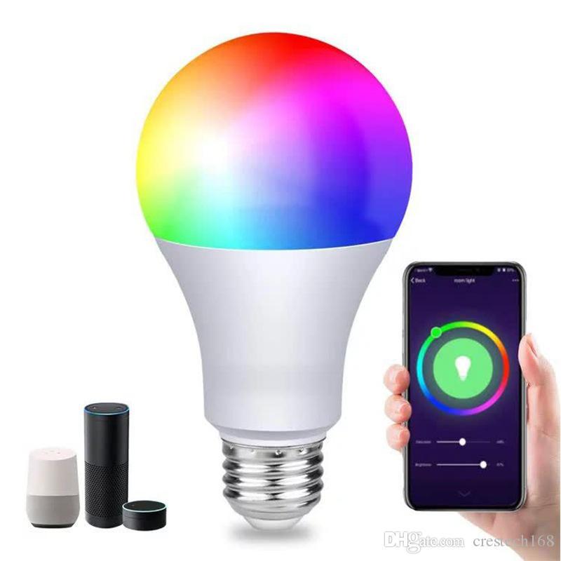 WiFi الذكية LED لمبة العمل مع الأمازون اليكسا جوجل المنزل RGB + ضوء دافئ + ضوء أبيض E27 7W AC85-265V LED لمبة الضوء