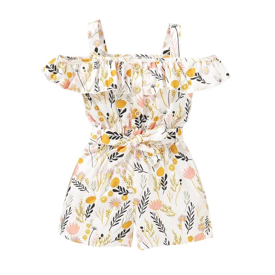 INS Little Girls Onveralls i pagliaccetti Bottoni maniche cintura del foglio floreale di stampa anteriori increspature della vita del collare papillon bambini delle tute
