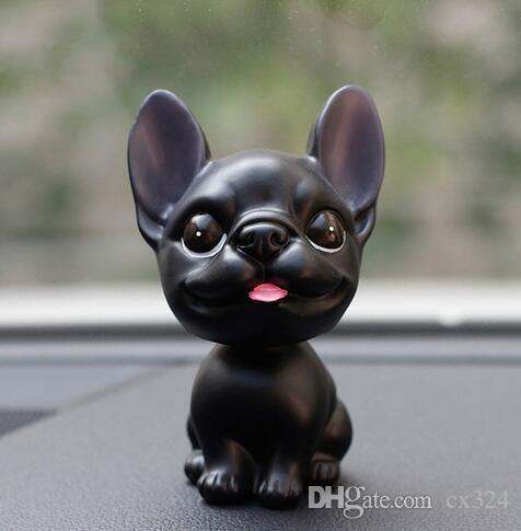 Car Dashboard Toys Decor Nodding Dog Car Ornament French Bulldog Shaking Head Cute Wobble Bobble Head Puppy Dolls Auto Accessory