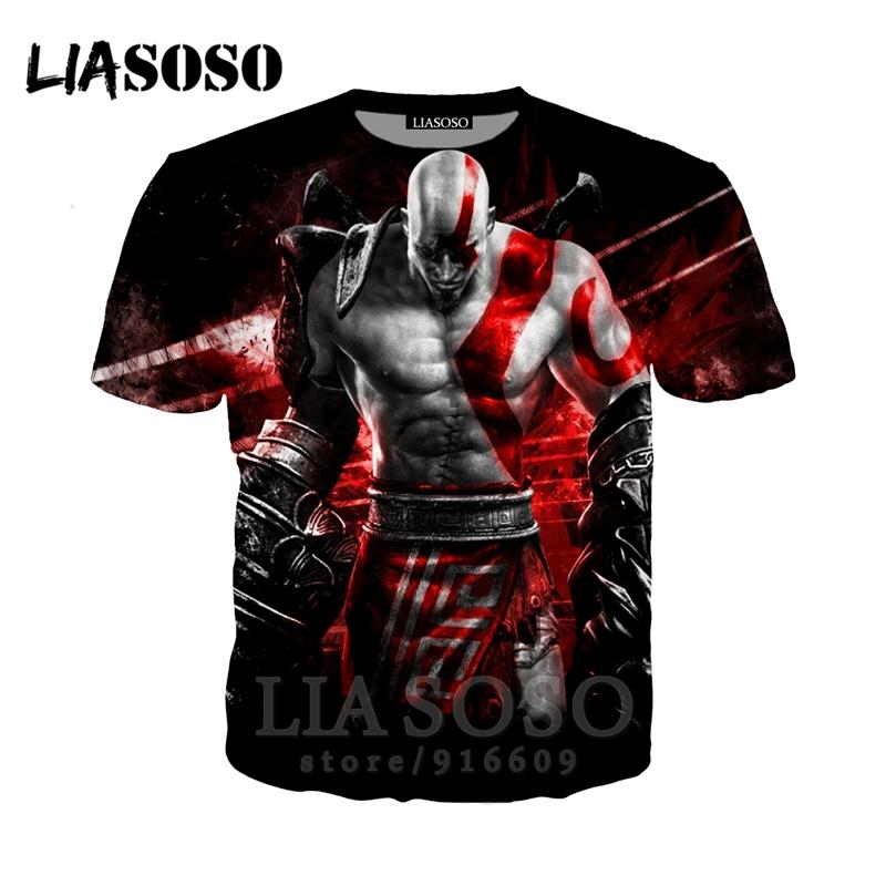 Moda t-shirt 3D baskı Erkekler kadınlar Anime streetwear t gömlek Harajuku takım çocuklar üst Kratos tanrı Savaş giysi Kısa Kollu E615
