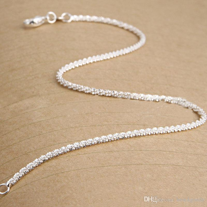 New Women Girls 925 Sterling Silver Plated Shining Chain Anklets Bracelet for Women Foot Jewelry Gifts