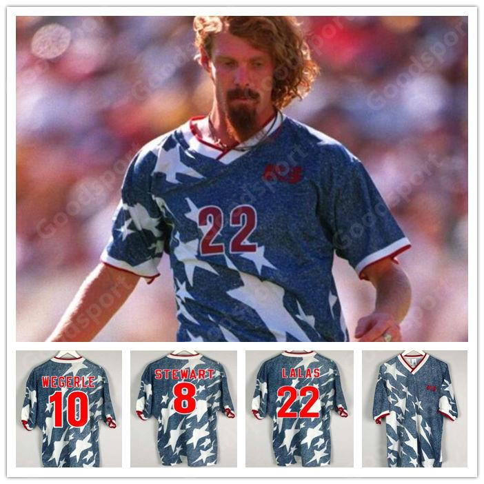 RETRO كأس العالم 1994 الولايات المتحدة الأمريكية قميص كرة القدم بالقميص Wegerle الاس راموس بالبوا HARKES TYLER WYNALDA 94 كرة القدم الكلاسيكية