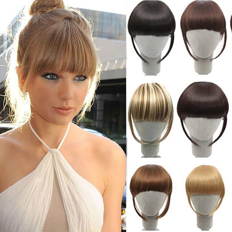 Sintetico Bangs Fringe False clip in capelli della frangia di scoppi neri Brown Biondo Per adulto Donne Accessori per capelli