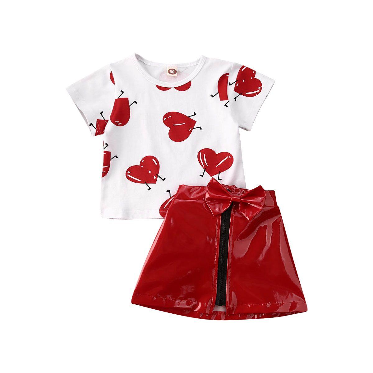 1-5Years Tout-petit Enfant Bébé fille Valentine Vêtements Amour Top T-shirt Jupe en cuir Outfit