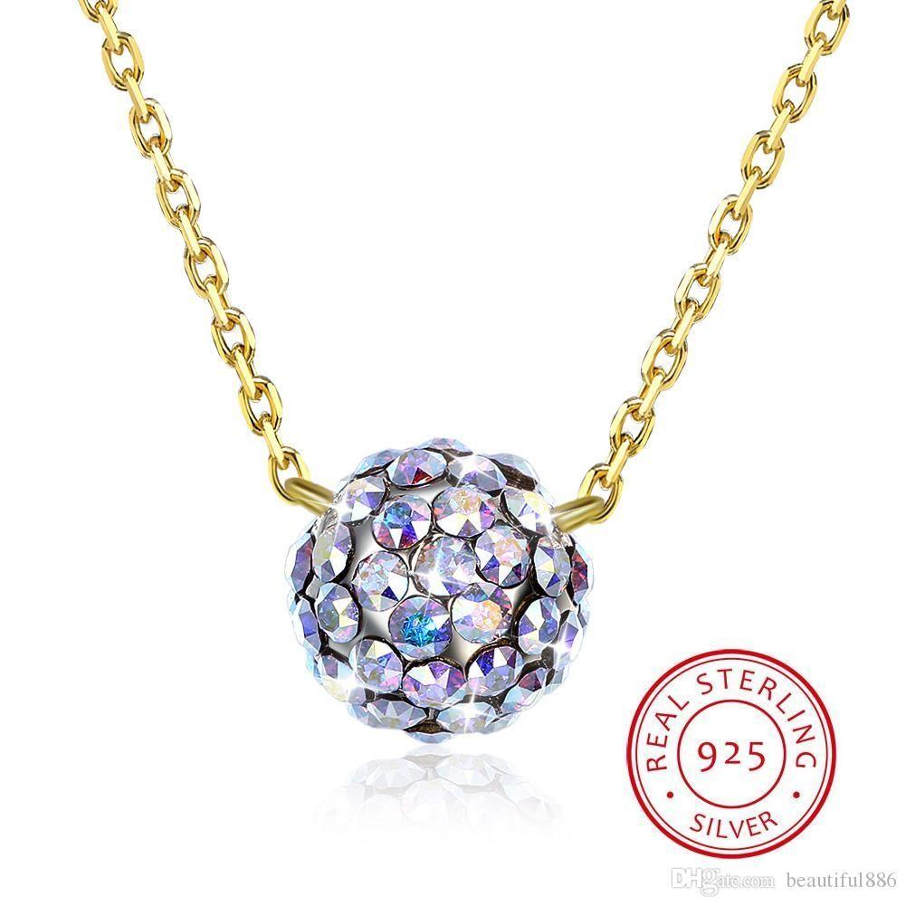 Bunte Kugel Anhänger Halsketten Kristalle Von Swarovski Element Schmuck S925 Sterling Silber Perlen Halsbänder Edlen Schmuck Für Frauen Mädchen