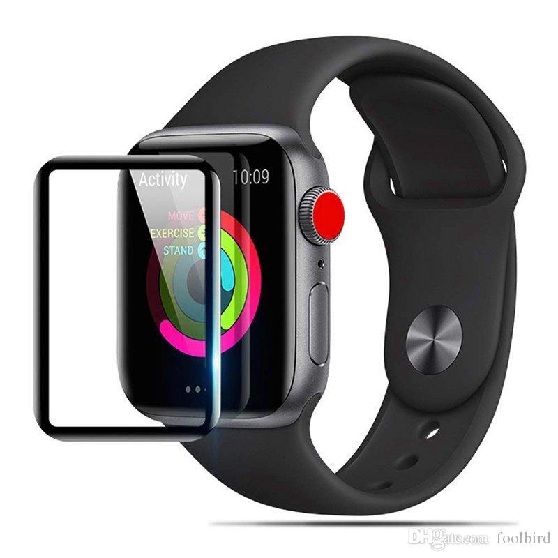 فيلم زجاج مقوى منحني كامل 9H ثلاثي الأبعاد لـ Apple Watch Series 4 3 2 1 38mm 42mm 40mm 44mm واقي الشاشة متوافق iWatch